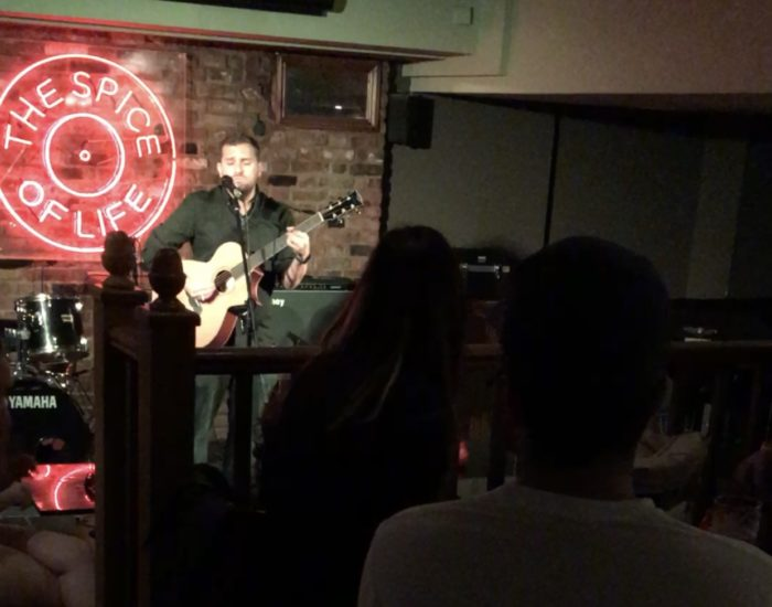 Sean Benjamin, Singer Songwriter, performing in London, England at Spice of Life in Soho, 2017.