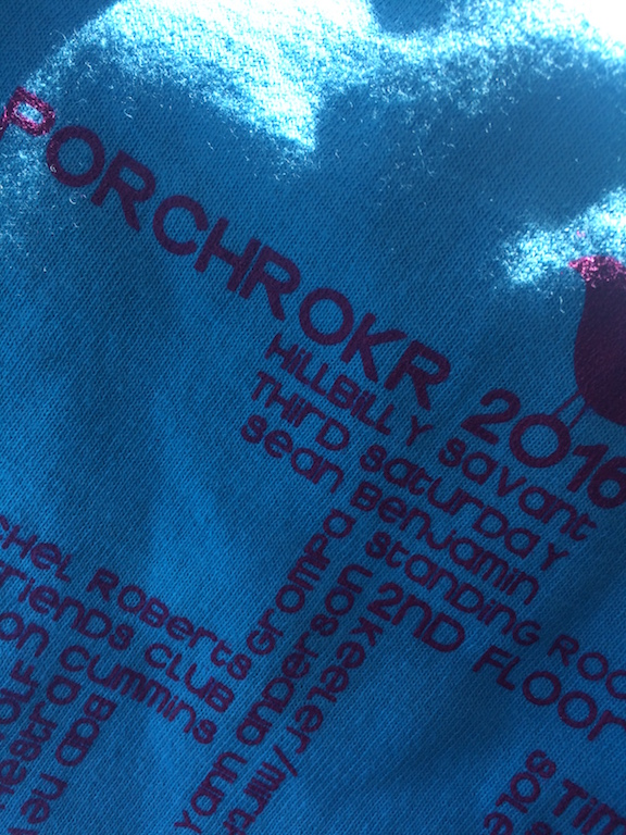 PorchRokr 2016 T-Shirt, featuring Sean Benjamin, a PorchRokr mainstay.